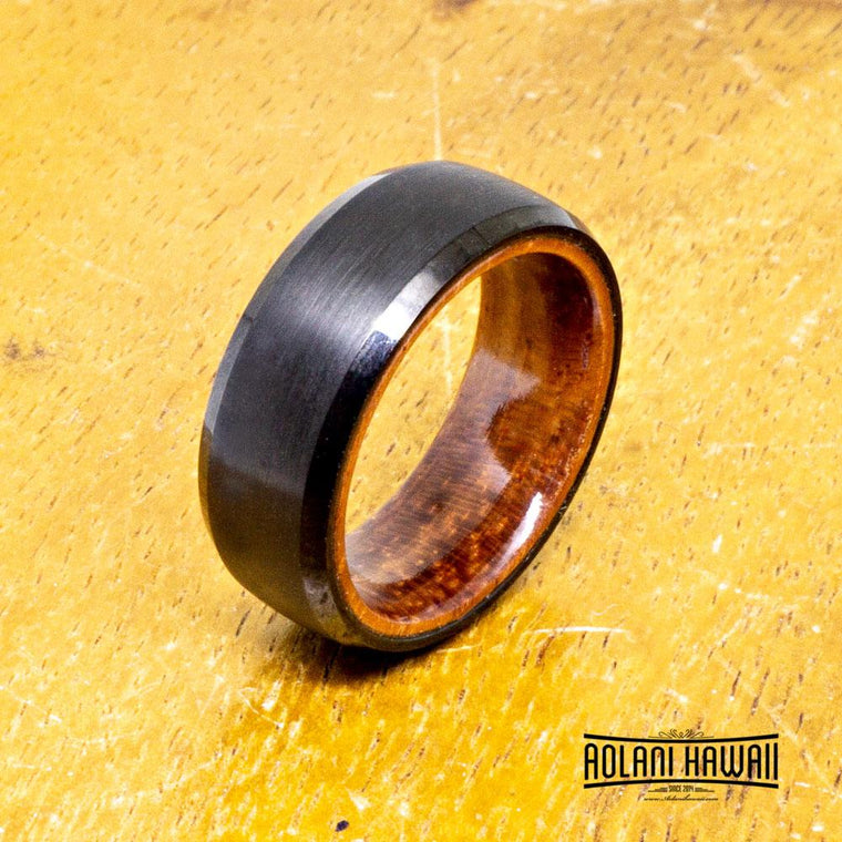 NEW - Brushed Black Tungsten Ring With Rosewood (8mm Width, Dome style)