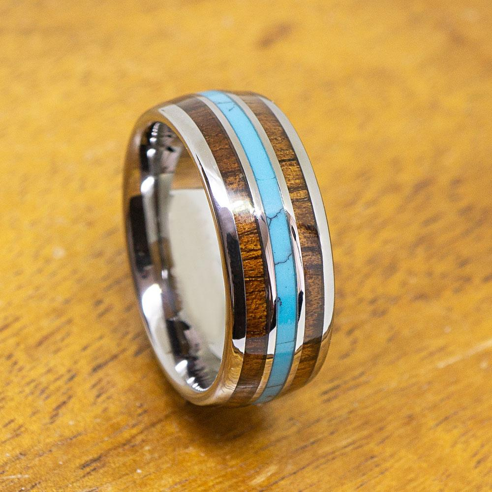 Tungsten Ring Turquoise & Koa Wood Inlay (8mm width, Dome style)