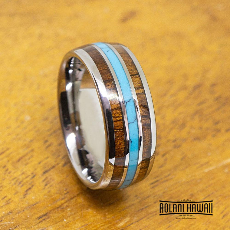 NEW - Tungsten Ring Turquoise & Koa Wood Inlay (8mm width, Dome style)