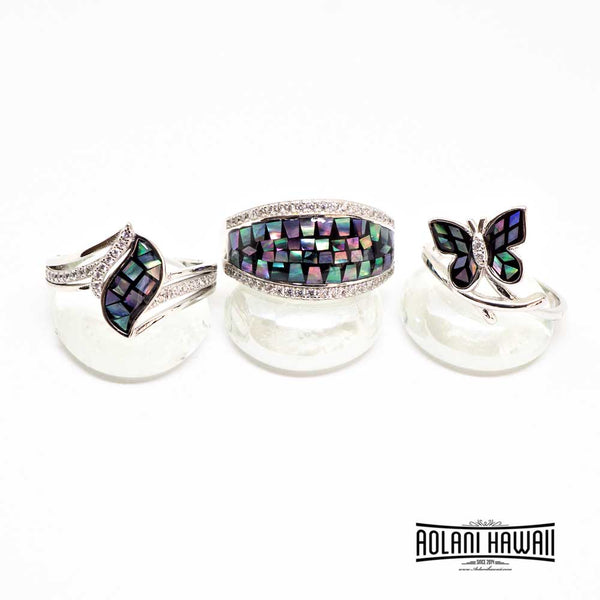Black Abalone 925 Sterling Silver Inlay Rings