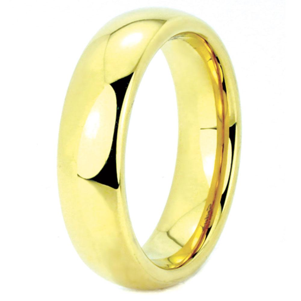 Yellow Rose Gold Tungsten Wedding Rings  (4mm - 8mm Width, Barrel style)