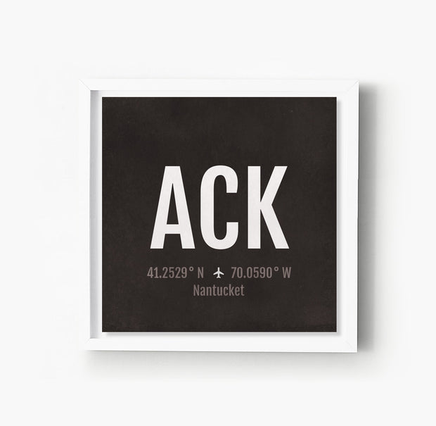 Nantucket ACK Airport Code Print