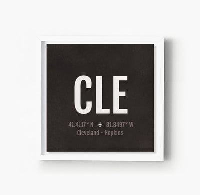 Cleveland CLE Airport Code Print