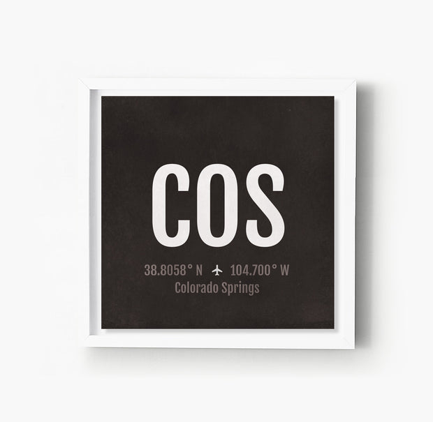 Colorado Springs COS Airport Code Print