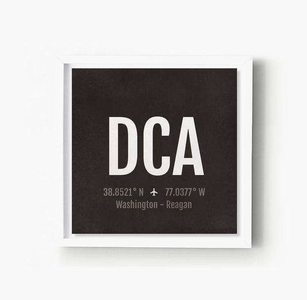 Washington DC DCA Airport Code Print