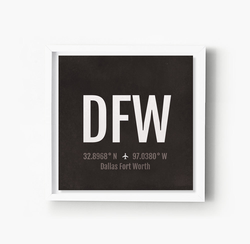 Dallas Fort Worth DFW Airport Code Print