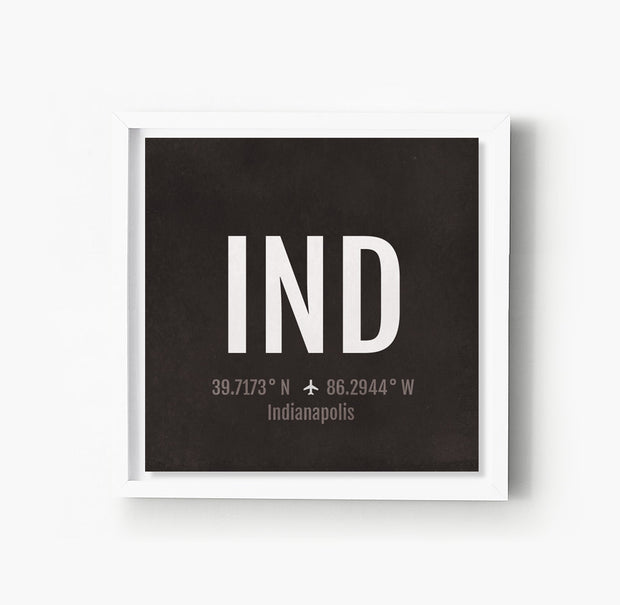 Indianapolis IND Airport Code Print