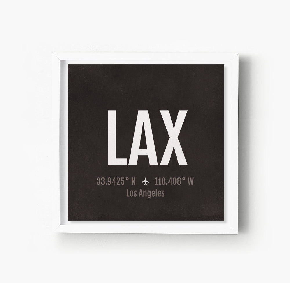 Los Angeles LA LAX Airport Code Print  Sproutjam - Los angeles poster black and white