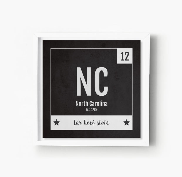 North Carolina US State Print