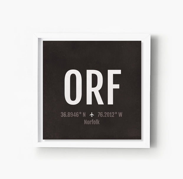 Norfolk ORF Airport Code Print