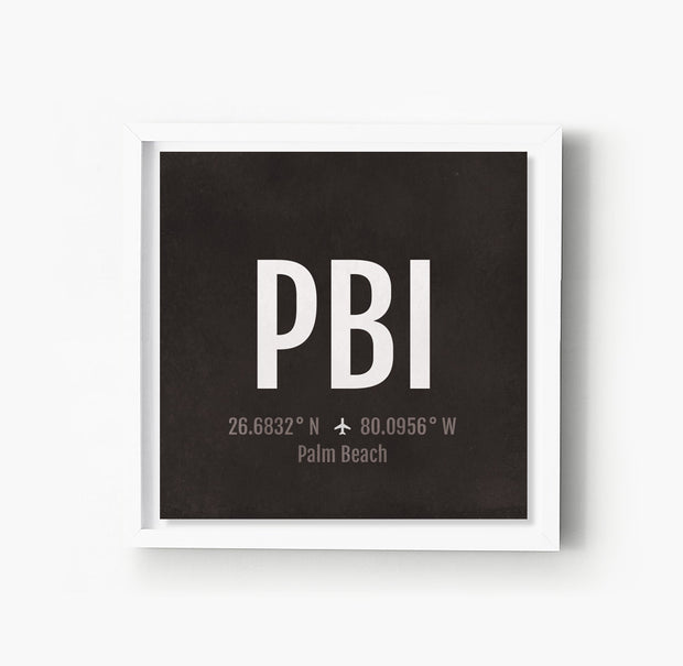 Palm Beach PBI Airport Code Print