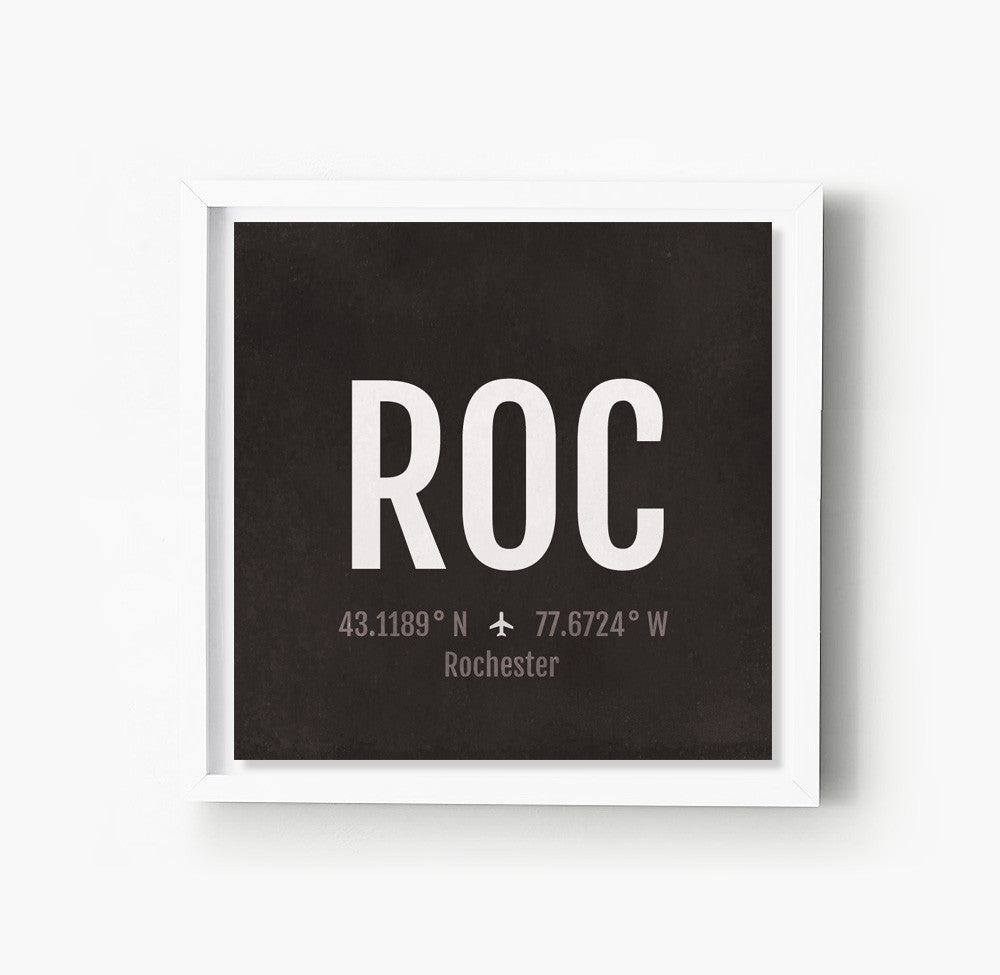Rochester ROC Airport Code Print