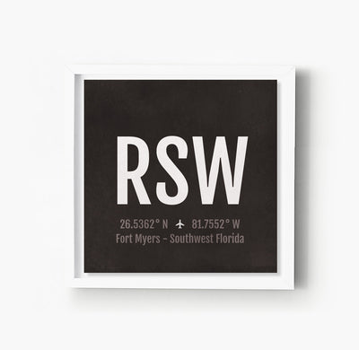 Fort Myers RSW Airport Code Print