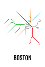 "Boston Subway ""T"" Map Print"