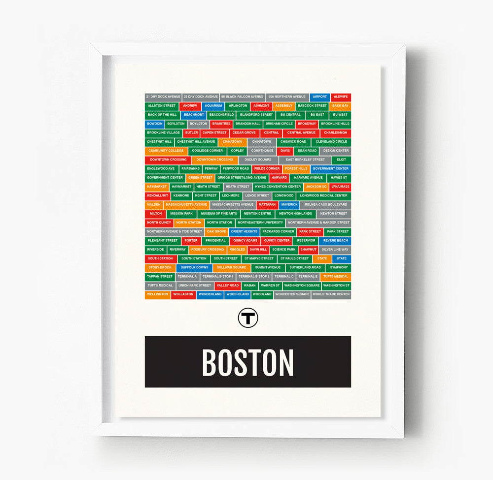 Boston Subway Map Poster.Boston Neighborhoods City Transit Maps Sproutjam