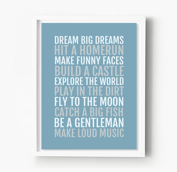 Boy's Rules Nursery & Kids Room Print