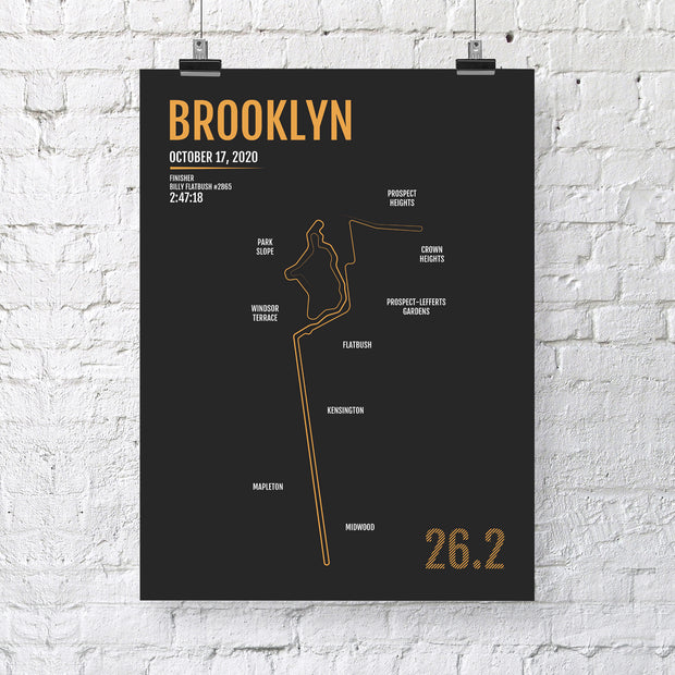 Brooklyn Marathon Map Print - Personalized for 2020