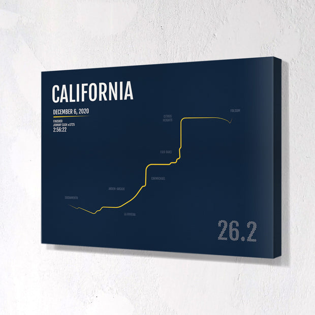 California International Marathon Map Print - Personalized for 2020
