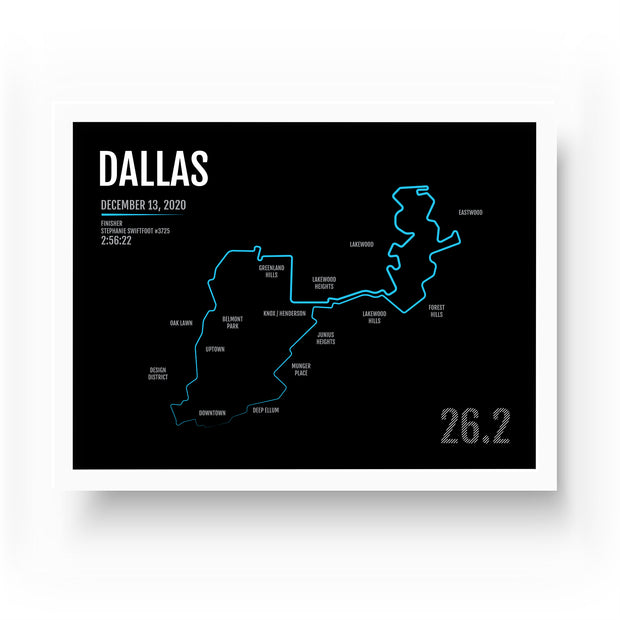 Dallas Marathon Map Print - Personalized for 2020