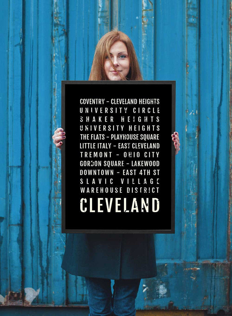 Cleveland Ohio Print - Neighborhoods - Subway Poster