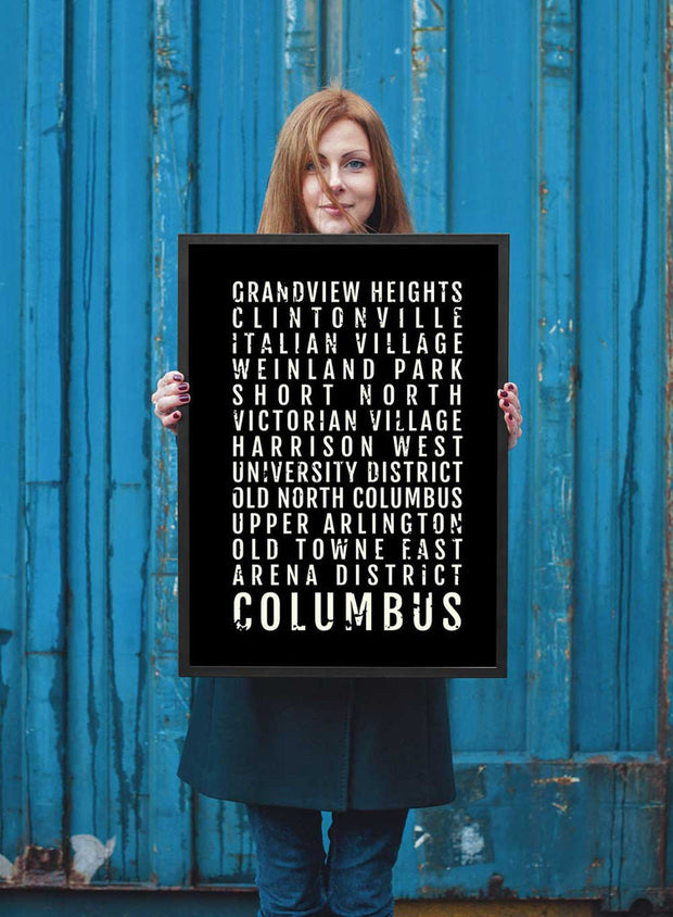 Columbus Ohio Print - Neighborhoods - Subway Poster
