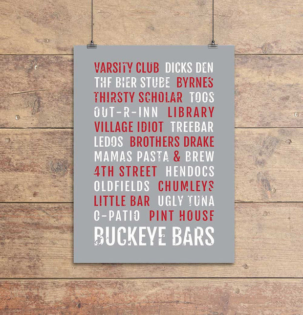 Ohio State Buckeye Bars Subway Poster