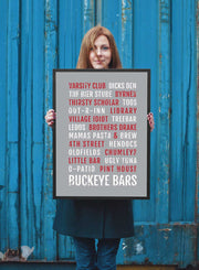 Ohio State Print Buckeyes Bars - Subway Poster - Bus Scroll - Columbus Bars - OSU Buckeyes Tailgating - The Ohio State University Buckeye