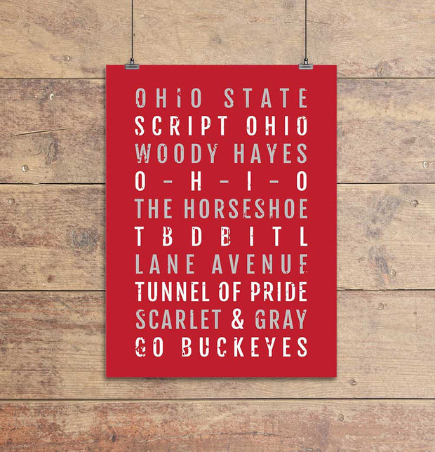 Ohio State Buckeyes Subway Poster