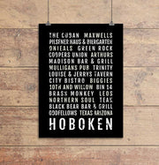 Hoboken Restaurant and Bars Subway Poster
