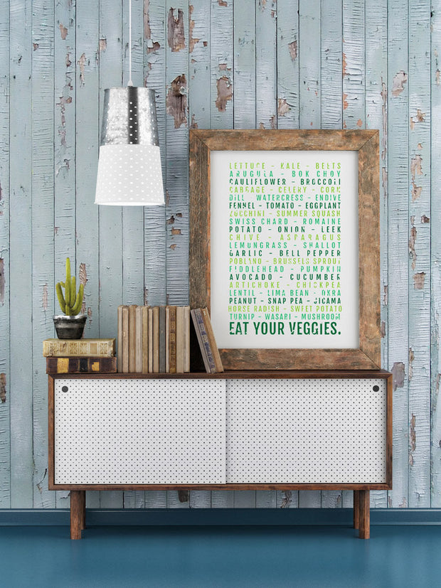 Kitchen Poster - Eat Your Veggies - Foodie