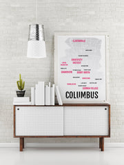 Columbus Ohio Print - Neighborhood City Map - Poster