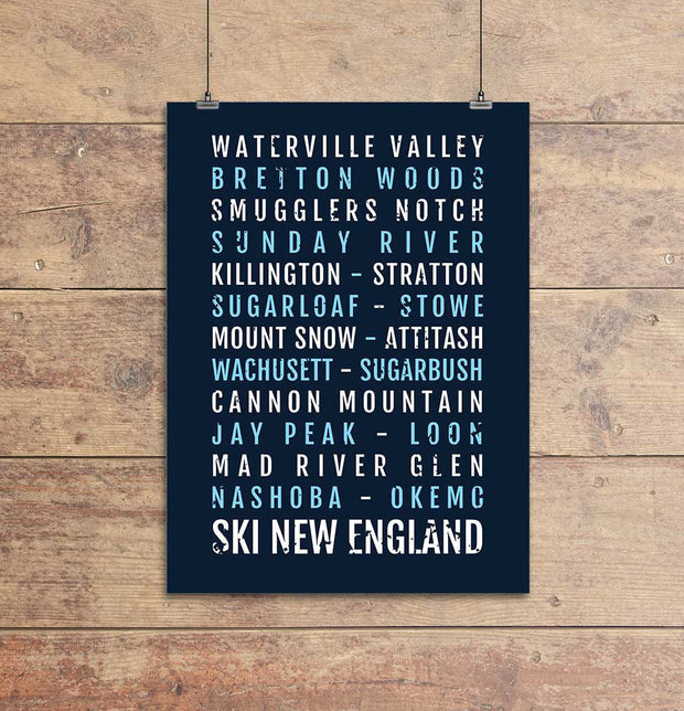 Ski New England Subway Poster