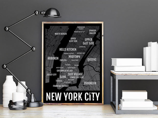 NYC Print - New York City Neighborhood Map - Boyfriend Gift