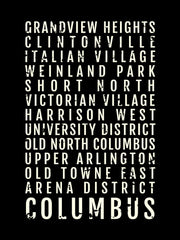 Columbus Ohio Neighborhoods Subway Poster