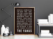 New York Yankees Print - NYC Yanks - Subway Poster