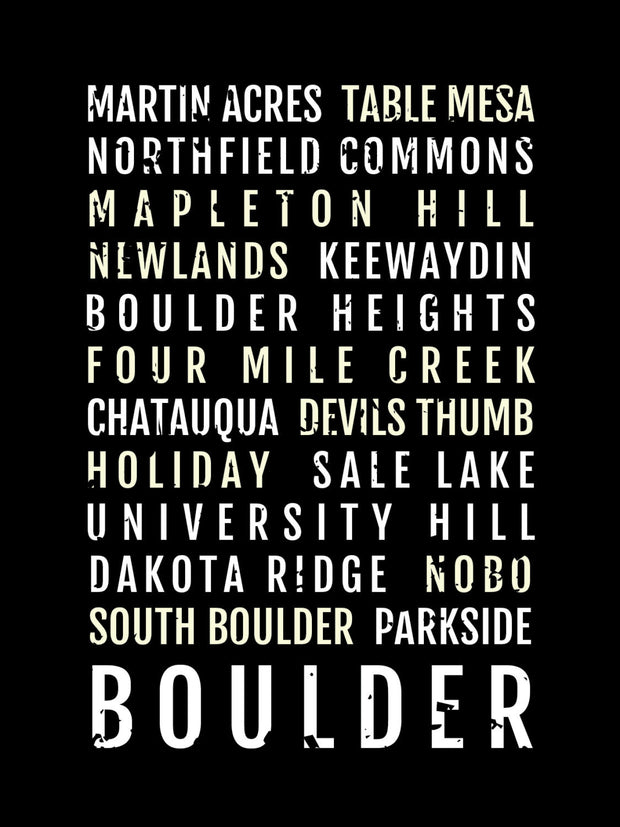 Boulder Colorado Neighborhoods Subway Poster