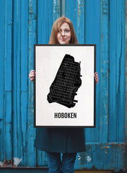 Hoboken Print - Neighborhood City Map - Subway Poster