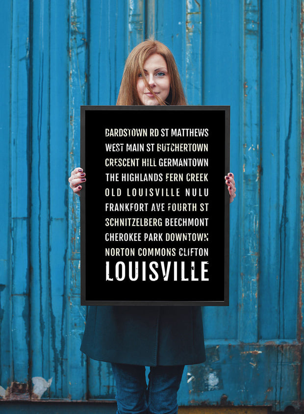 Louisville Print - Neighborhoods - Subway Poster