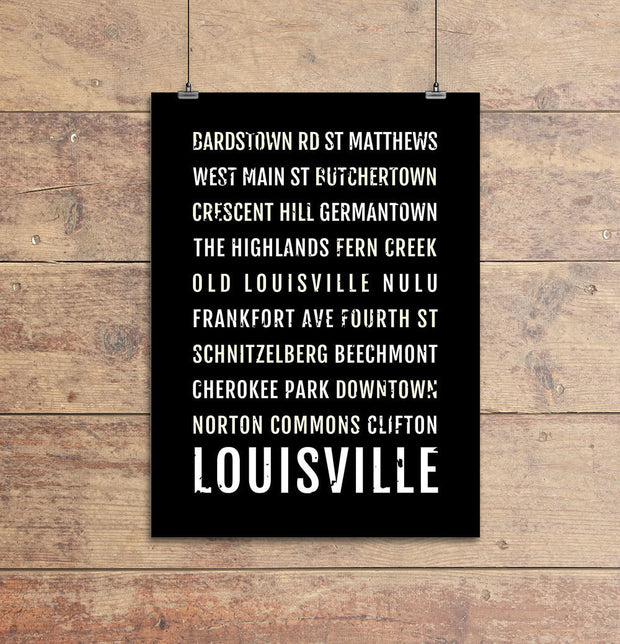 Louisville Neighborhoods Subway Poster