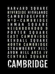 Cambridge Massachusetts Neighborhoods Subway Poster