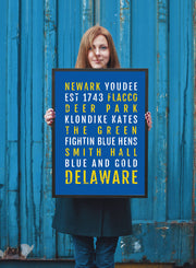 University of Delaware Blue Hens Subway Poster