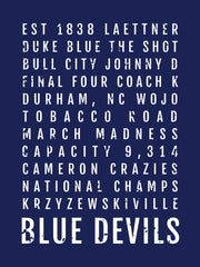 Duke Blue Devils Subway Poster