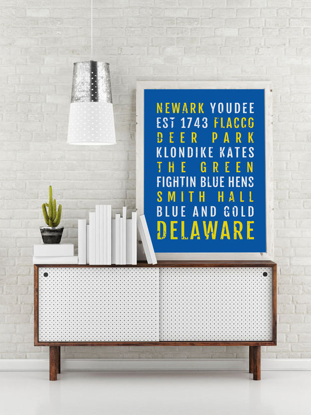 University of Delaware Blue Hens Print - Subway Poster