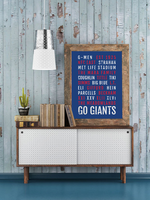 New York Giants Print - NY Gmen - Subway Poster