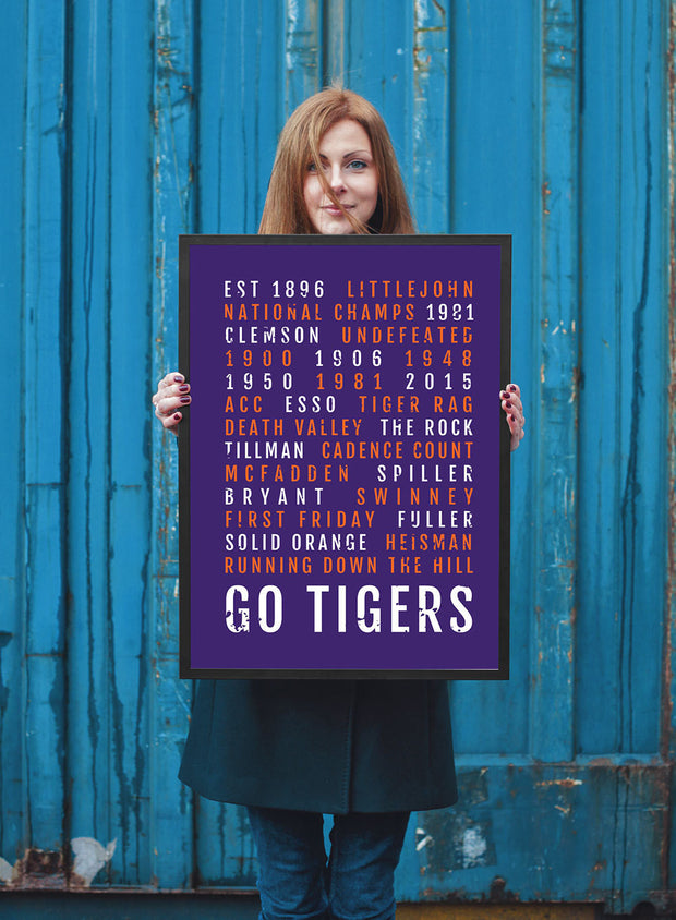 Clemson Tigers Print - Clemson University - Subway Poster