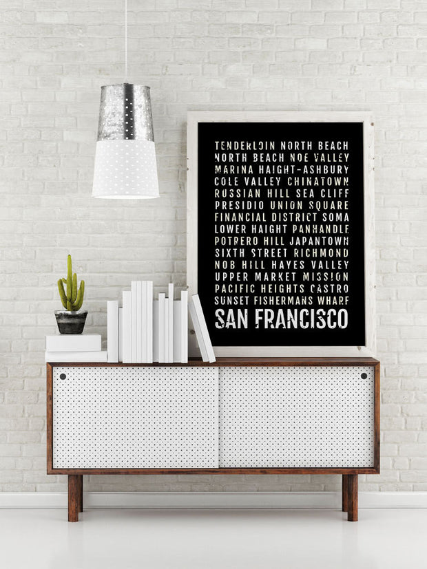 San Francisco Print - SF San Fran Neighborhoods Subway Poster