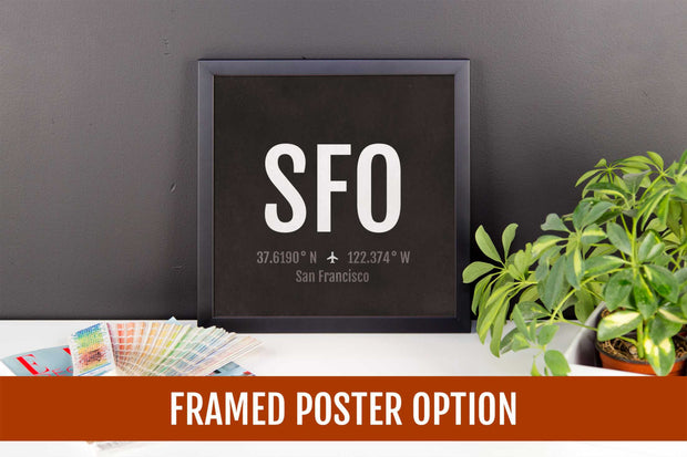San Francisco Airport Code Print - SFO Aviation Art - California Airplane Nursery Poster