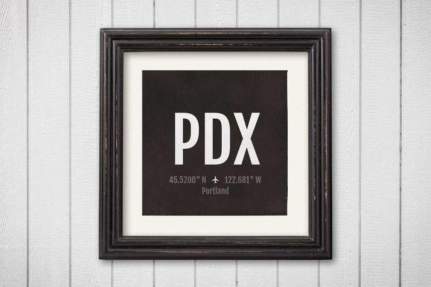 Portland Airport Code Print - PDX Aviation Art - Oregon Airplane Nursery Poster