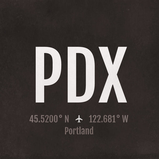 Portland PDX Airport Code Print