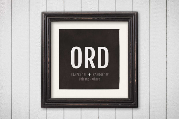 Chicago O'hare Airport Code Print - ORD Aviation Art - Illinois Airplane Nursery Poster